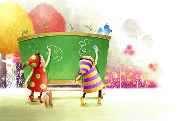 儿童插画,小精灵,小松鼠