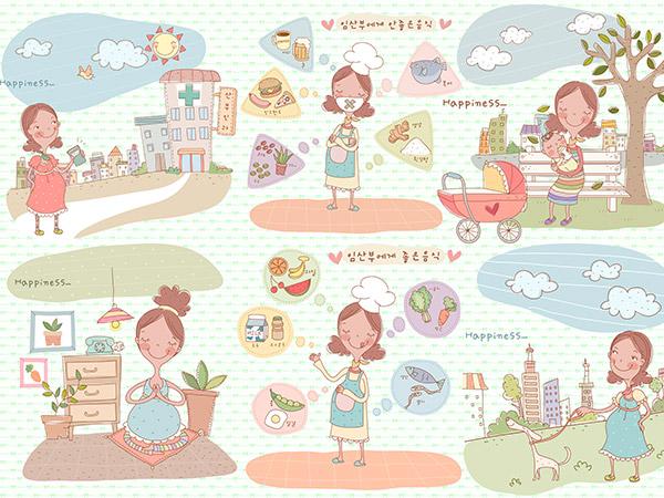 手绘孕妇插画图片psd素材下载,孕妇活动插画,日常生活插画,手绘插画