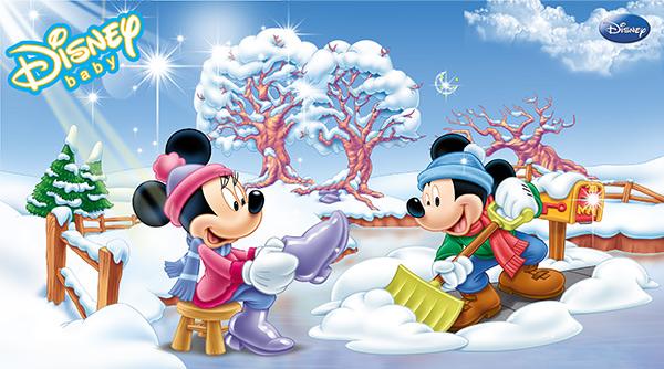雪地里的迪士尼米老鼠图片大全psd素材下载,松树,树,扫雪,迪士尼,米