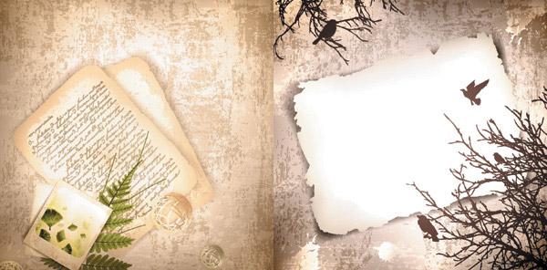 古典花纹信纸_矢量背景
