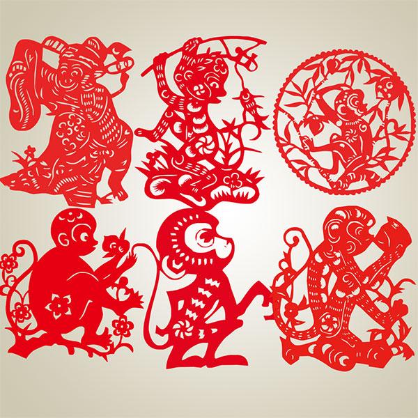 2016猴年剪纸图案大全