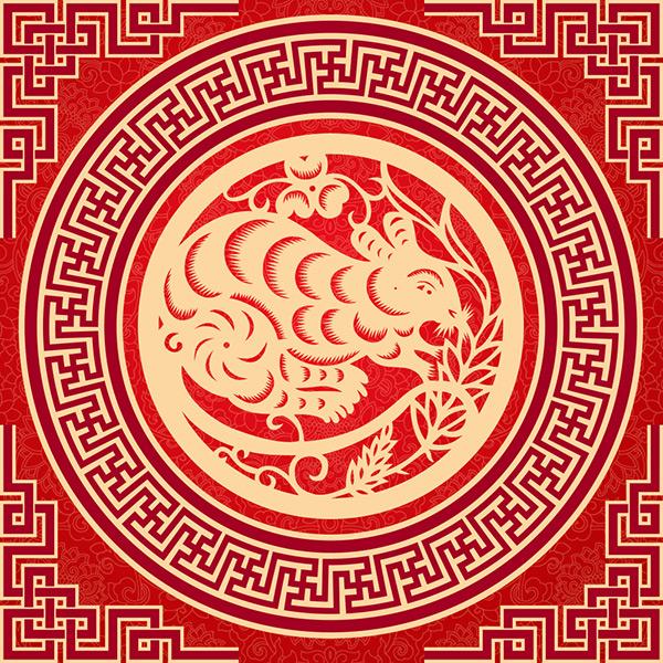 花纹背景,中式传统剪纸,十二生肖剪纸,鼠,中式圆形花纹图案,花纹图案