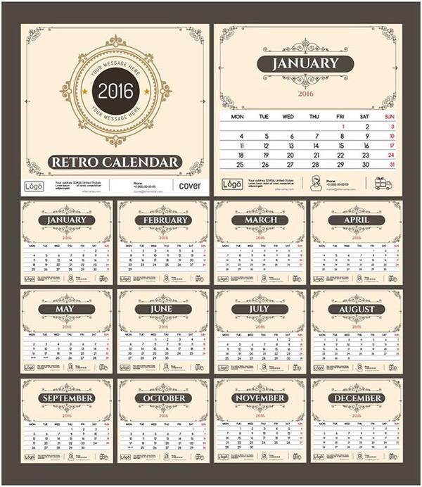 2016年日历设计,016年台历模板图片