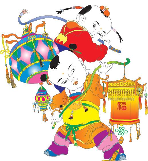 挑花灯的中国娃娃元宵节年画图片插画