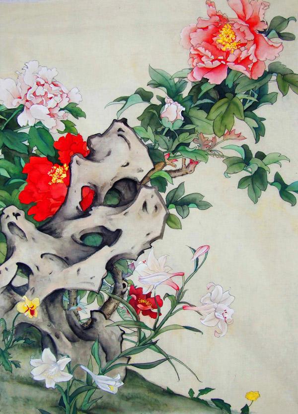 图片,美术,绘画,牡丹花,百合花,工笔画,中国画,重彩画,花卉,花朵,石头