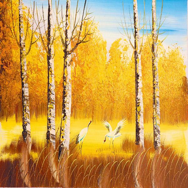 树林中仙鹤油画