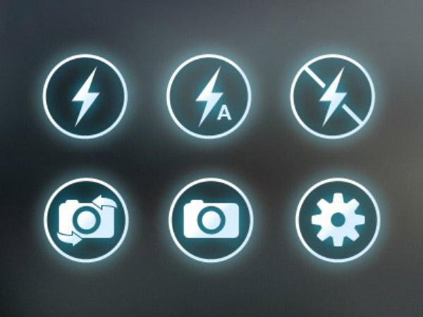 闪电与拍照图标psd素材,闪电图标,拍照图标,网页升级,按钮设计,图标