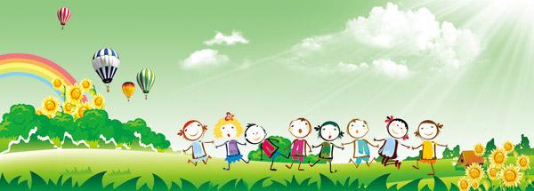 卡通,背景,彩虹,热气球,草地,小草,花朵,小孩,手绘,男孩,女孩,天空,云