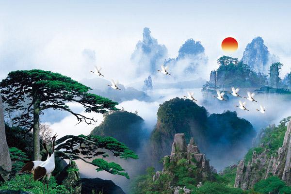 点 关键词: 黄山迎客松山顶日出设计psd源文件下载,迎客松,松鹤,太阳