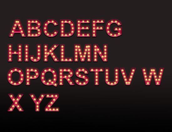 霓虹光效英文字体