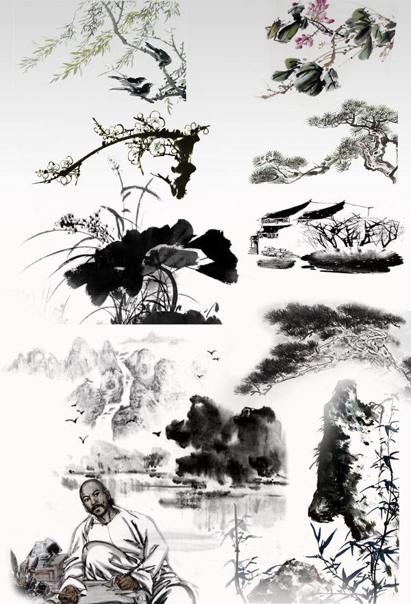 水墨,设计元素,水墨荷花,松树,山水,人物,民居,梅花,柳树,免费水墨
