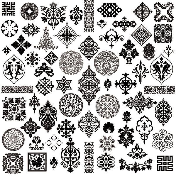 古典花纹图案psd分层素材下载,欧式,花边,边角花,纹身,抽象图腾,角花