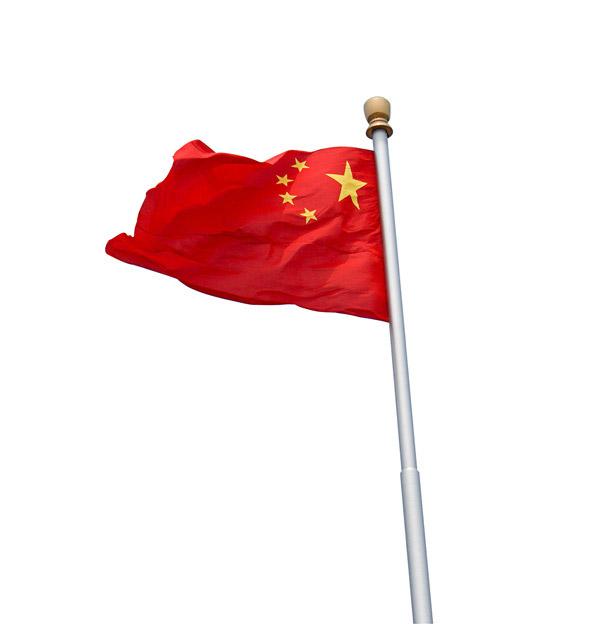 迎风飘扬的五星红旗高清图片下载