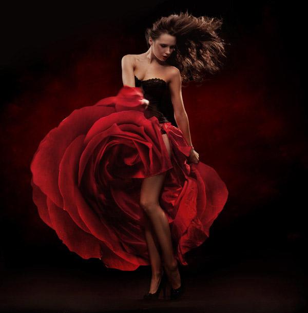 昏暗场景下的红裙美女摄影高清图片下载