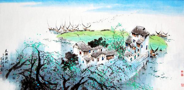国画设计图片素材下载,太湖渔村,美术,中国画,水墨画,水乡,江南风情图片