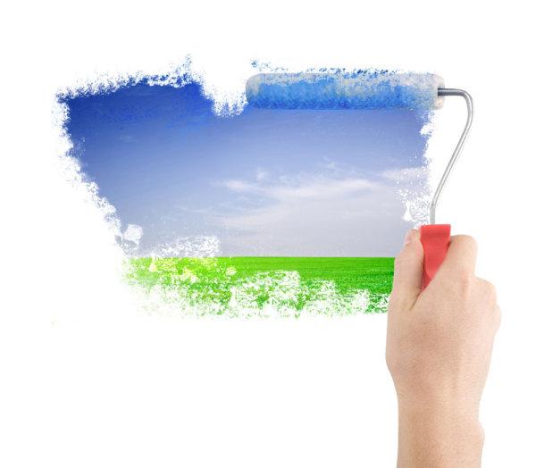 0点 关键词: 粉刷墙面高清图片,粉刷,滚轴,油漆,手,手指,风景,天空