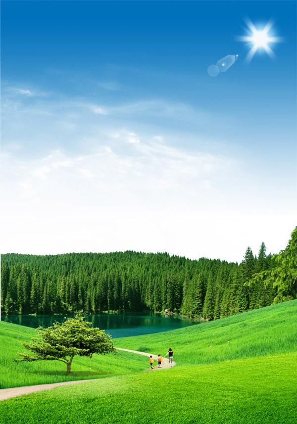 湖畔,大树,树木,森林,树林,大自然,自然风景,地图,背景,底纹,清新