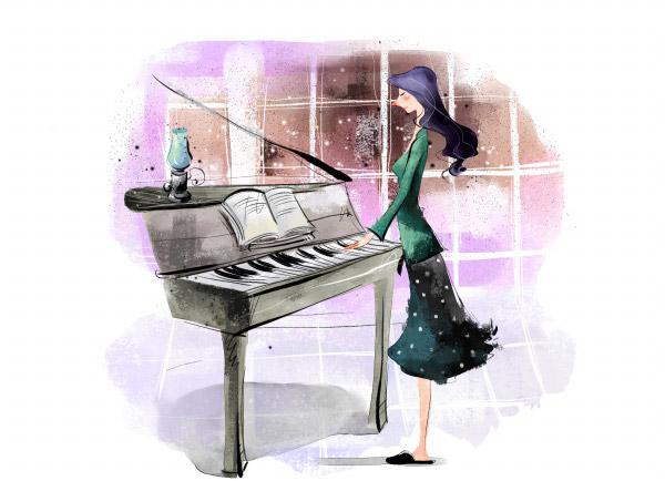 弹钢琴的女孩插画