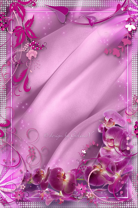 Pink flower border design PSD, photo frame templates, borders, design ...
