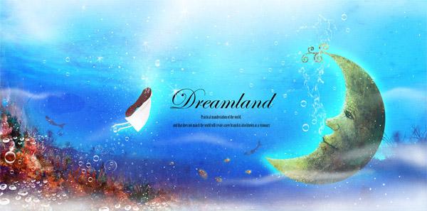 唯美童话海底世界创意设计psd素材,唯美童话,海底世界,气泡,月亮,手绘