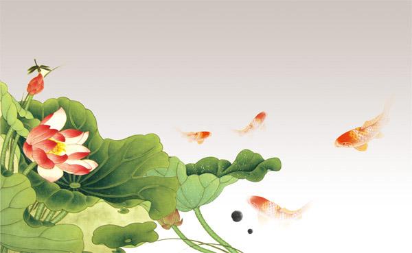 水墨荷花 鲤鱼 效果图 素材 中国 素材 CNN