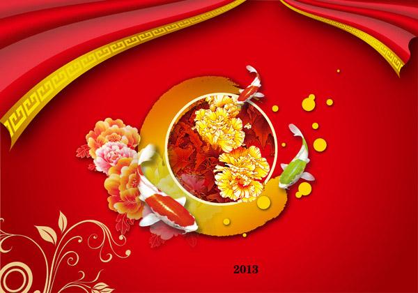 中国红背景,喜庆背景,锦鲤,鲤鱼,鲜花,古典元素图片素材,免费喜庆psd