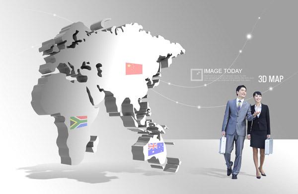 psd分層素材,韓國素材,創意設計,國際貿易,人物,男人,背影,3d,手提箱