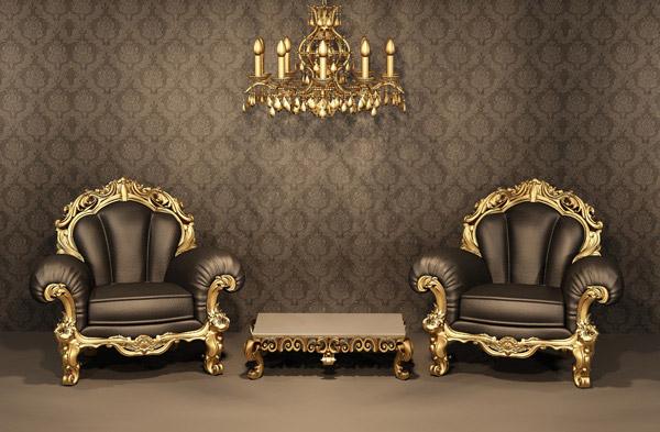 金色装饰的沙发与吊灯摄影高清图片免费下载,高清,大图,图片,素材,摄影,室内,装修,装饰,效果图,家装,复古,古典,怀旧,欧式,花纹,室内,墙纸,壁纸,墙壁,墙面,顶灯,灯具,茶几,会客厅