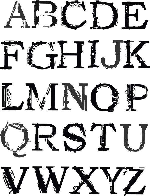 创意英文字体设计矢量图素材下载