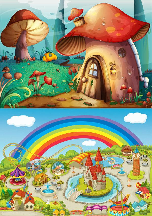 卡通蘑菇房矢量素材