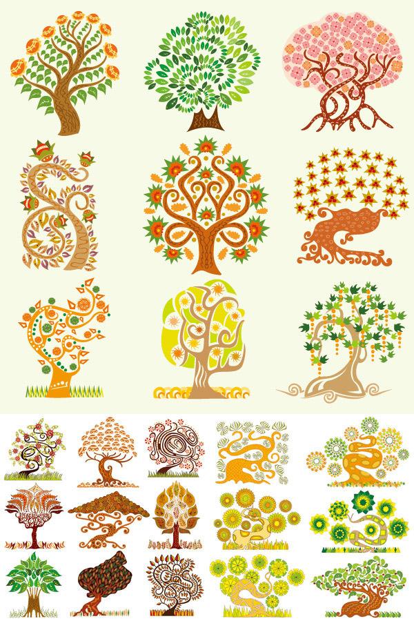素材分类: 矢量卡通其它所需点数: 0 点 关键词: 创意卡通树集矢量