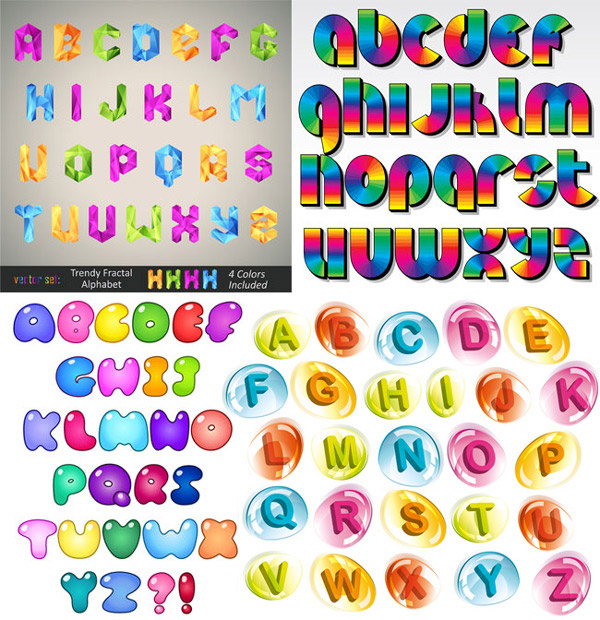 四款可爱创意设计英文字母矢量素材下载