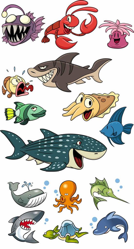 卡通海洋生物_矢量卡通动物
