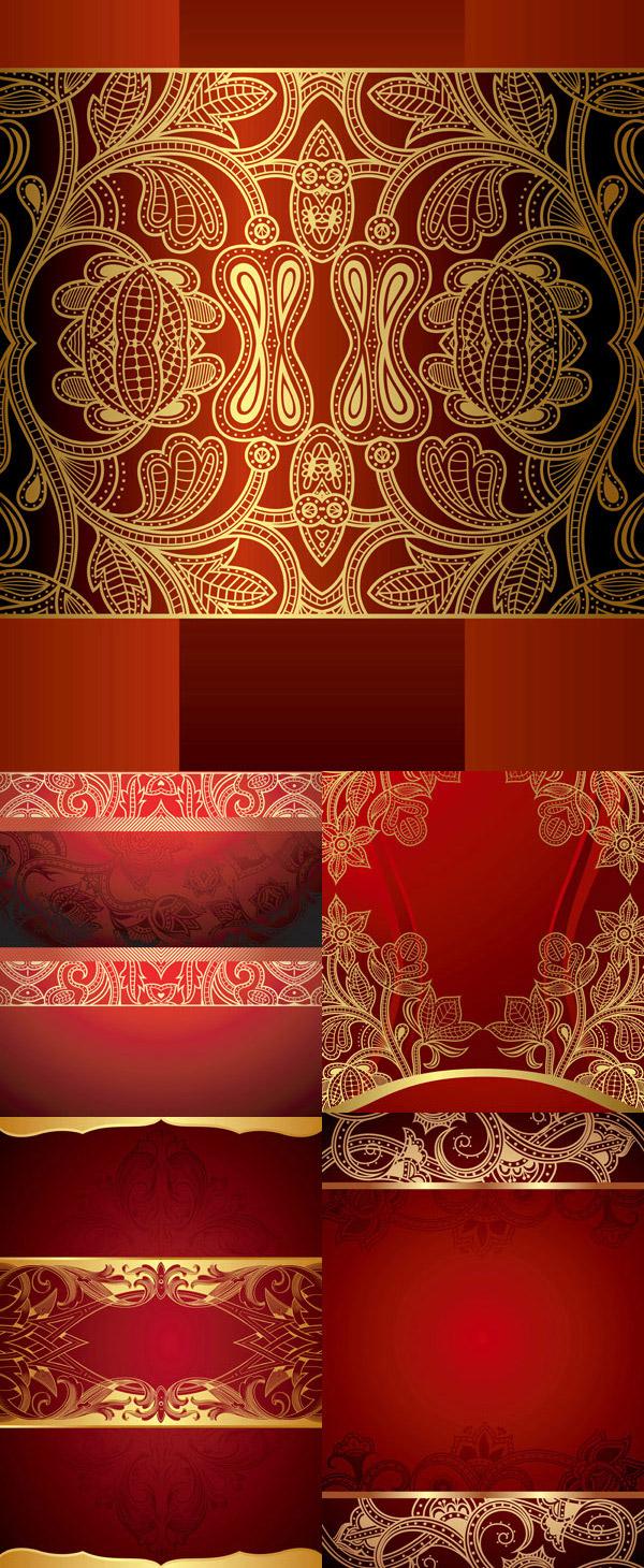 金色花纹矢量素材下载,金色花纹,花纹样式,请帖背景,高贵典雅,红色