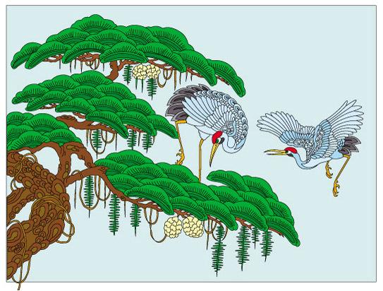 0 点 关键词: 仙鹤与迎客松矢量素材,仙鹤与迎客松矢量素材,手绘插画
