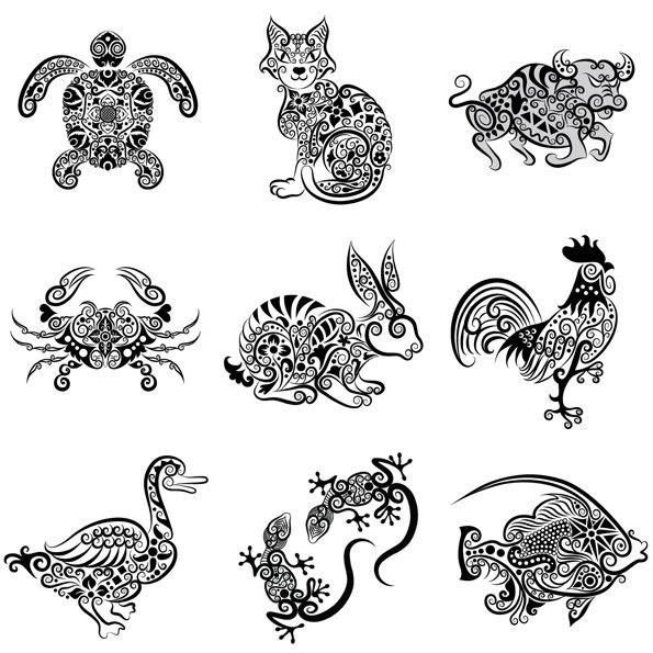 手绘动物花纹_素材中国sccnn.com