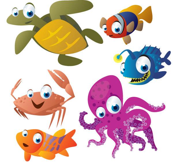 矢量卡通动物所需点数: 0 点 关键词: 卡通海底生物矢量素材,海底世界
