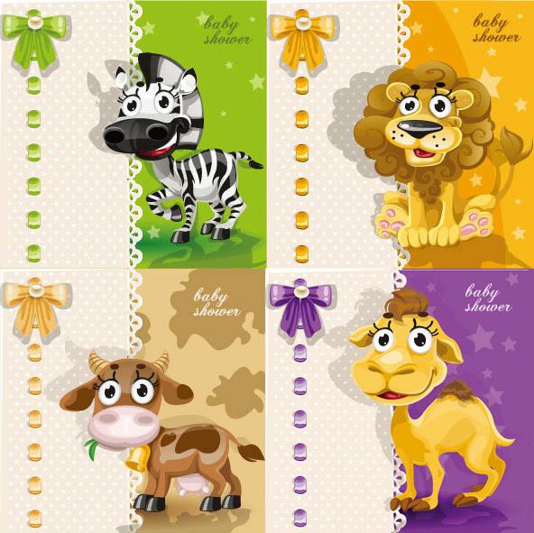 超萌动物卡片_矢量卡通动物