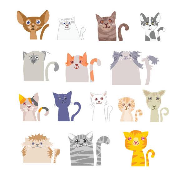 卡通,可爱,动物,图案,插画,猫咪,花纹,线条,矢量素材,eps矢量素材下载
