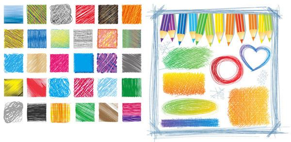 彩铅手稿插画矢量素材,彩色,铅笔,彩铅,手绘,手稿,线条,插画,插图,图案,圆,心,方块,椭圆,长方形,矢量素材,EPS矢量素材下载