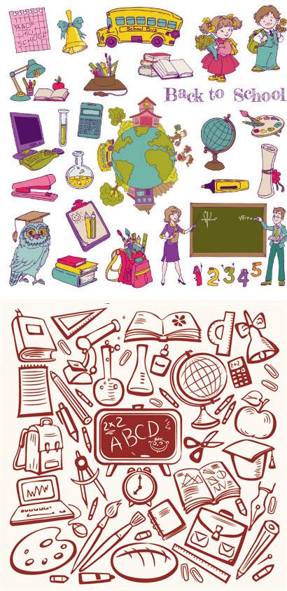 0 点 关键词: 手绘卡通学习用品矢量素材下载,黑板,地球仪,笔,校车