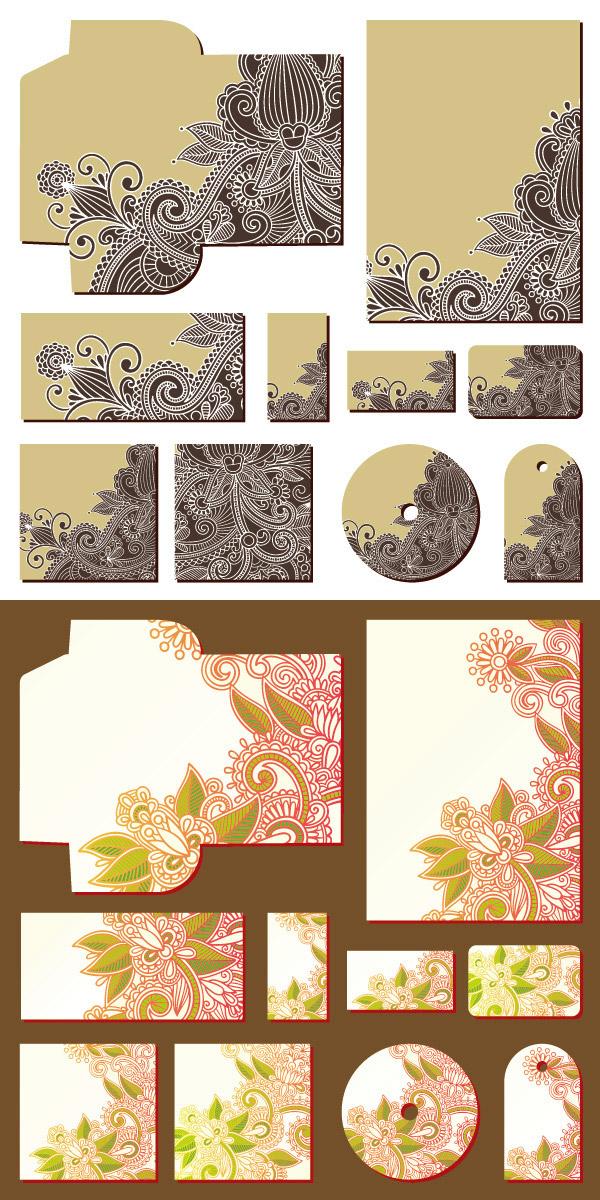 点 关键词: 手绘花卉vi设计矢量素材,手绘花卉,古典花纹,vi设计,信封
