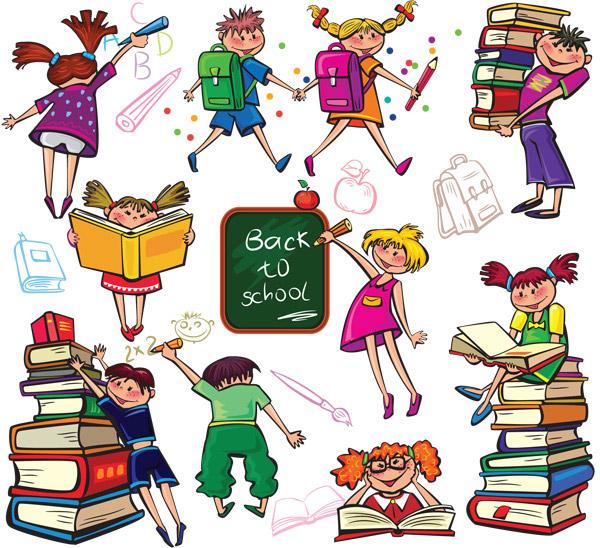 可爱手绘插画儿童上学矢量免费下载,可爱,手绘,插画,儿童上学,看书