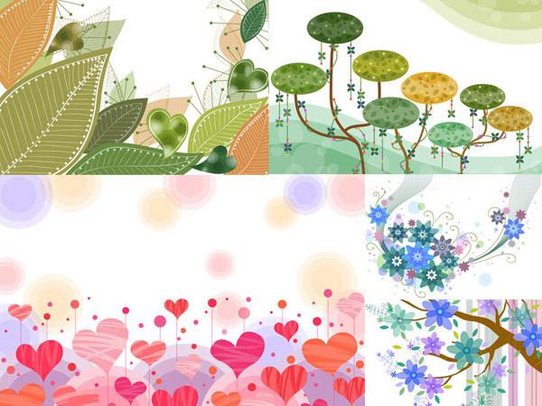 矢量素材,矢量图,tua,插画,图案,树叶,叶子,树枝,花朵,花卉,植物,心形