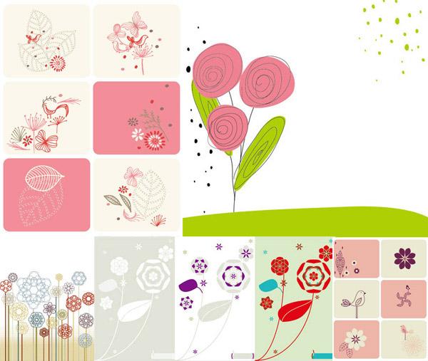 小鸟与花朵插画
