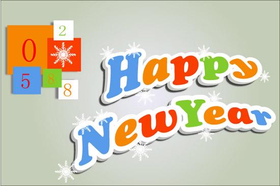 关键词: 新年快乐英文字体矢量图,新年快乐,英文字体,雪花,立体艺术字图片