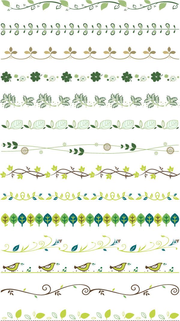 所需点数: 0点 关键词: 多款植物花边边框矢量素材,花边,草,树,叶子