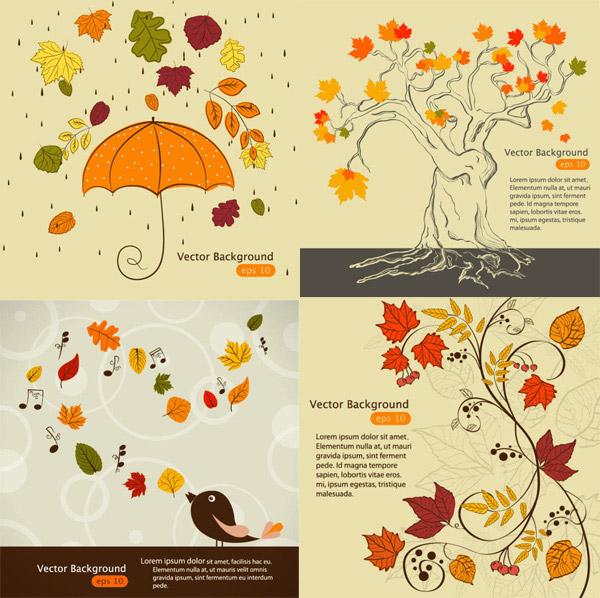 手绘,手稿,线条,雨伞,枫叶