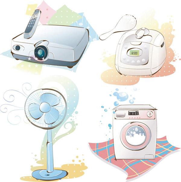 手绘电器矢量免费素材,手绘电器,洗衣机,电风扇,放映机,电饭煲,eps