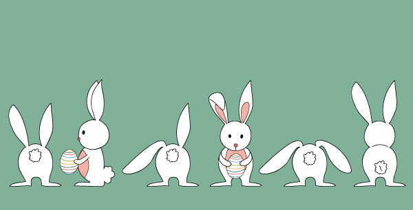矢量卡通角色所需点数: 0 点 关键词: 抱彩蛋的兔子简笔画矢量图
